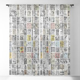 1980's Vintage Punk Flyers Sheer Curtain
