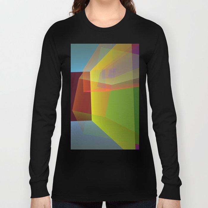 Modern colourful translucent cubism Long Sleeve T-shirt