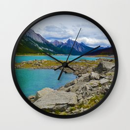 Medicine Lake in the Maligne Valley of Jasper National Park, Canada Wall Clock