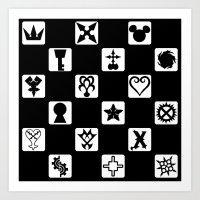 kingdom hearts Art Prints featuring Kingdom Hearts Grid by KewlZidane