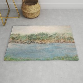East Coast 1 Medium Color Tone, Coastal Sentiments, Oil Pastel Drawing Rug