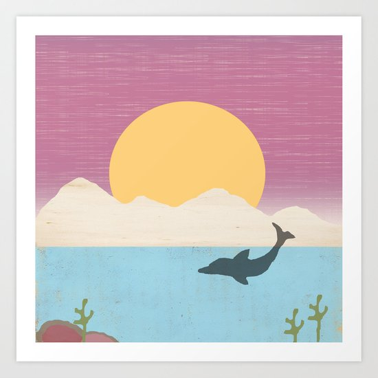 Sunset Swimming Art Print