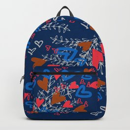 Blue Bouquet of Hearts Backpack