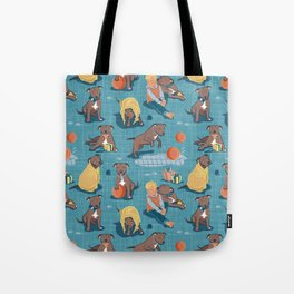 Memories of a Sweet Pit Bull Doggie Friend named Venice // blue linen texture background Tote Bag