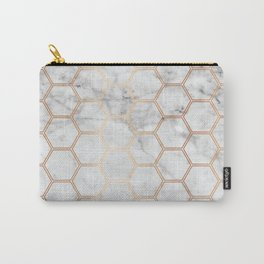 Honeycomb Marble Rose Gold #358 Carry-All Pouch