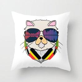 "Unique Cat Music Tee For Musicians ""Cat Headphones"" T-shirt Design Notes Musical House Home Gradient Throw Pillow"