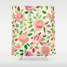 Pastel Roses in Blush Pink and Cream  Shower Curtain