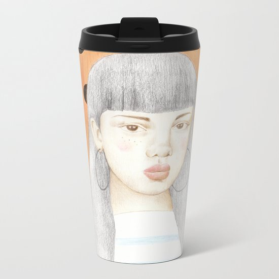 girl portrait Metal Travel Mug