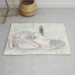 "Watercolor Painting of Picture ""Hippopotamus"" Rug"