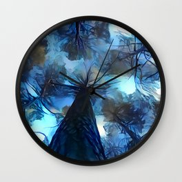 Blue forest, dark sky view, abstract spooky artwork, sad winter trees, dark blue colors nature theme Wall Clock