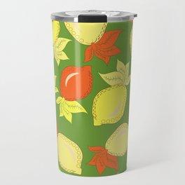 Tumbled Lemons Pattern Travel Mug