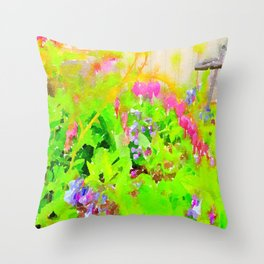 Abstract Spring Flowers Bleeding Hearts and Virginia Bluebells Throw Pillow