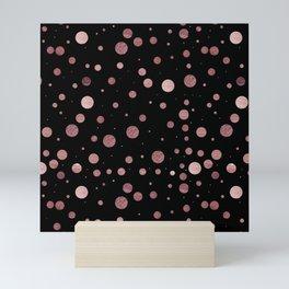 Modern stylish faux rose gold hipster polka dots Mini Art Print