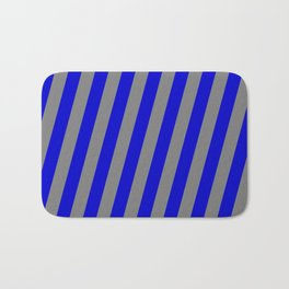 Blue & Gray Colored Lines/Stripes Pattern Bath Mat