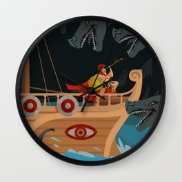 odysseus fighting Scylla and Charybdis Greek mythology monsters Wall Clock