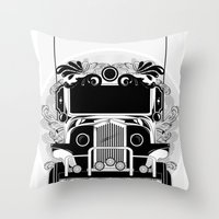 jeep Throw Pillows featuring jeep ni erap by cocoyponce