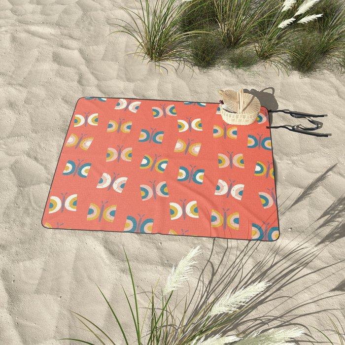Red Retro Butterflies Picnic Blanket