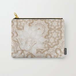 Butterfly on mandala in iced coffee tones Carry-All Pouch