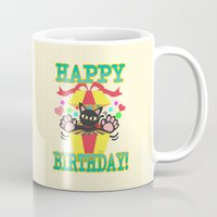 happy birthday Mugs featuring Happy Birthday! by BATKEI