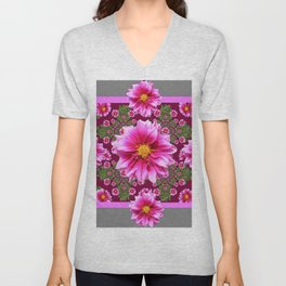 Abstracted  Fuchsia Dahlias Geometric Stylized Floral Grey Garden Unisex V-Neck