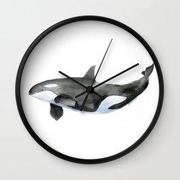 Orca Killer Whale Watercolor Wall Clock