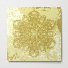 Gold lace textured mandala Metal Print