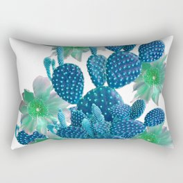 SURREAL BLUE PEAR CACTUS & FLOWERS DESERT ART Rectangular Pillow