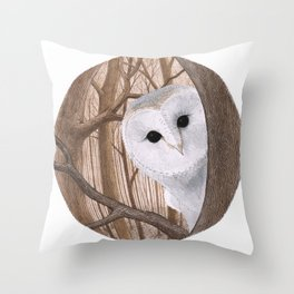 curious owl Throw Pillow