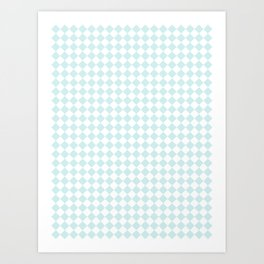 Small Diamonds - White and Light Cyan Art Print