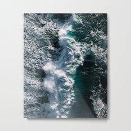 Crashing ocean waves - Ireland's seascapes at sunset Metal Print