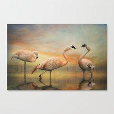 Flamingo Lake. Canvas Print