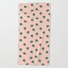 Cute Cactus Pink Pattern Beach Towel