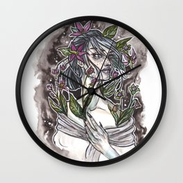 Nightshade Inktober Ink and Watercolor Illustration Wall Clock