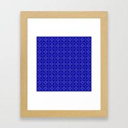 Dark Earth Blue and White Interlocking Square Pattern Framed Art Print
