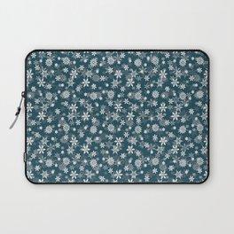 Christmas Winter Night Blue Snow Flakes Laptop Sleeve