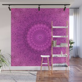 Sunflower Peacock Feather Bohemian Pattern \\ Aesthetic Vintage \\  Bright Fuchsia Pink Color Scheme Wall Mural