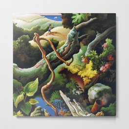 Classical Masterpiece 'the Butterfly Catcher' by Thomas Hart Benton Metal Print