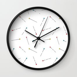 Tailor Sewing Pins Pattern on White Wall Clock