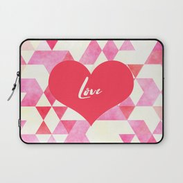 Valentine's Diamond Pattern with Love Heart Laptop Sleeve
