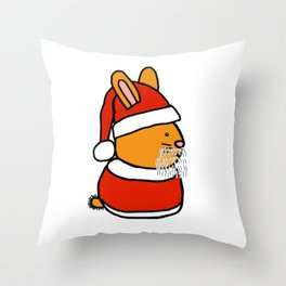 Cute bunny dressed in a Santa suit, Santa hat and white beard Throw Pillow