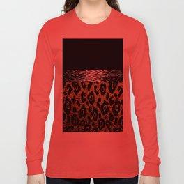 ANIMAL PRINT CHEETAH LEOPARD BLACK WHITE AND GOLDEN BROWN Long Sleeve T-shirt