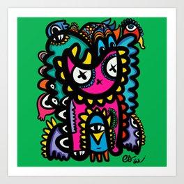 Pink Magic Totem of Dreams Graffiti Art  Art Print