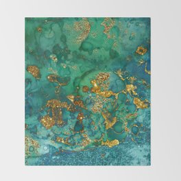 Malachite and Gold Glitter Stone Ink Abstract Gem Glamour Marble Throw Blanket