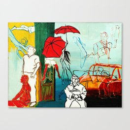 Composition Painting - Umbrella girl with woman Canvas Print