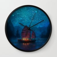jazzberry blue Wall Clocks featuring Our Secret Harbor by Aimee Stewart
