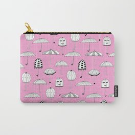 Happy Umbrellas Pattern - pink Carry-All Pouch