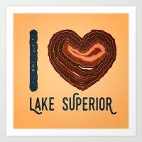 I Heart Lake Superior - North Shore Agate Hunting Club print Art Print