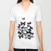 carousel V-neck T-shirts featuring flutter carousel by Sharon Turner