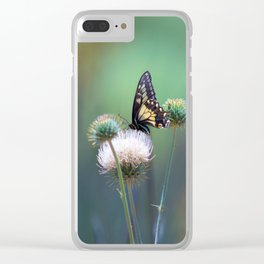Butterfly Thistle Clear iPhone Case