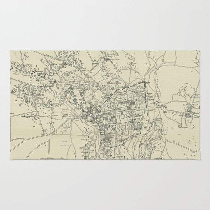 Vintage Map of Jerusalem Israel (1917) Rug by bravuramedia | Society6